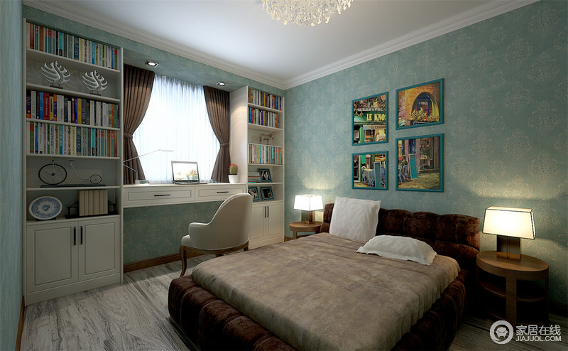 卧室线条简洁,白色吊顶与蓝绿色壁纸营造清新和静;背景墙因为四副彩色的画作多了生活的场景感,也增加了空间的色彩活力,书柜定制在窗户两侧带来慢慢的书卷气;咖色床松软而质感上乘,圆几和方形灯盏台灯上演现代大气。