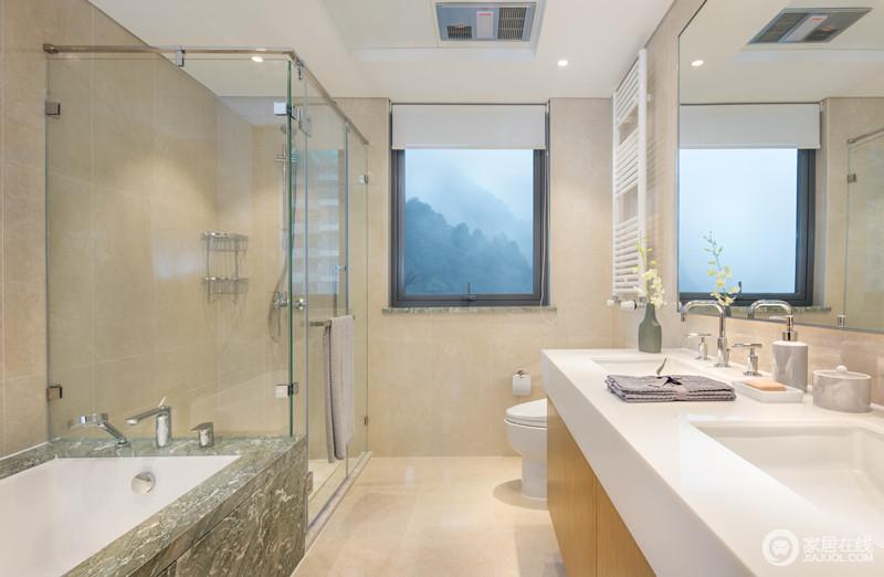 卫生间结构规整,以统一墙砖和地砖的形式让空间硬朗中多了素淡;在米色的基调下,青绿色大理石打造得浴缸多了自然灵动,并与简约的盥洗柜呈实用精彩,以贴心地设计尽显生活真谛。