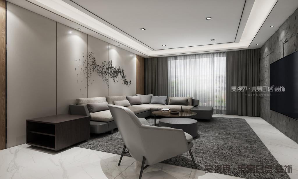 沙发的颜色稍浅一些,造型简洁质感极强,有一种低调的华贵感。