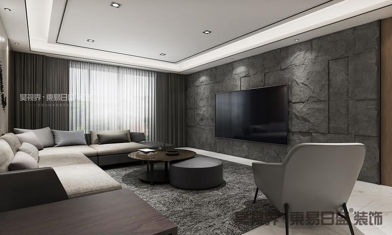 客厅总体色调较为沉稳,灰色调运用的比较多,但另一方面也会显得比较大气。电视背景墙的极具立体感,为整个客厅增色不少。