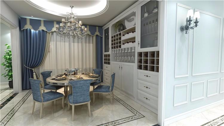 这款简欧餐厅采用清新亮丽的白色打造,或许这样的装修风格会显得比较单调,墙面的装饰壁画完全打破了沉寂的空间,起到了画龙点睛的效果,不但展现出欧式艺术的浪漫风情,同时是一种高贵生活品味的展示。