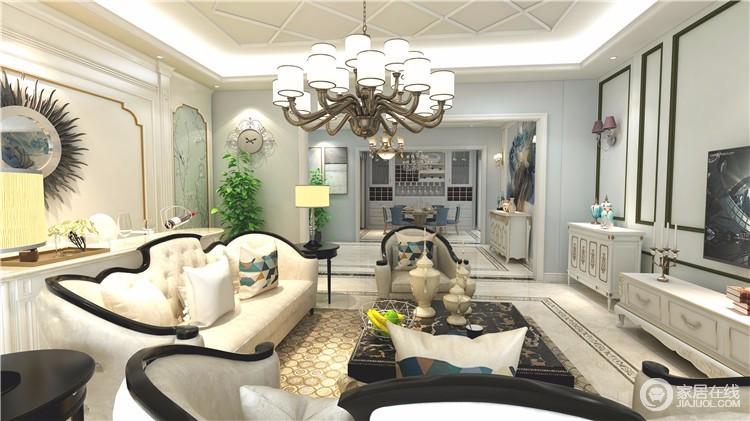 简欧风格客厅家具一般采用统一色系的,具有一定的线条感,一般白色比较常用,本案例采用的也是白色的沙发,技能与墙面呼应,也符合了业主的审美。
