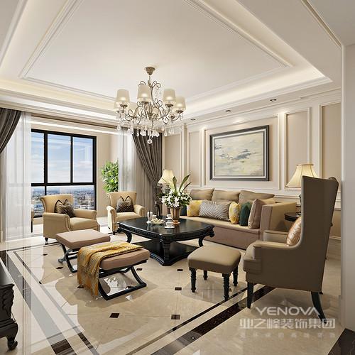 本案设计风格为新古典,整个空间线条流畅呼应,将古典与现代融合至居室中,完美演绎出优雅时尚的生活情调;设计师大量的运用了中性的浅驼、土黄和米色,令空间的氛围有着绵密的温柔舒适,空间由此流露出的温情,浪漫的撩拨出轻盈华美的高贵之气。