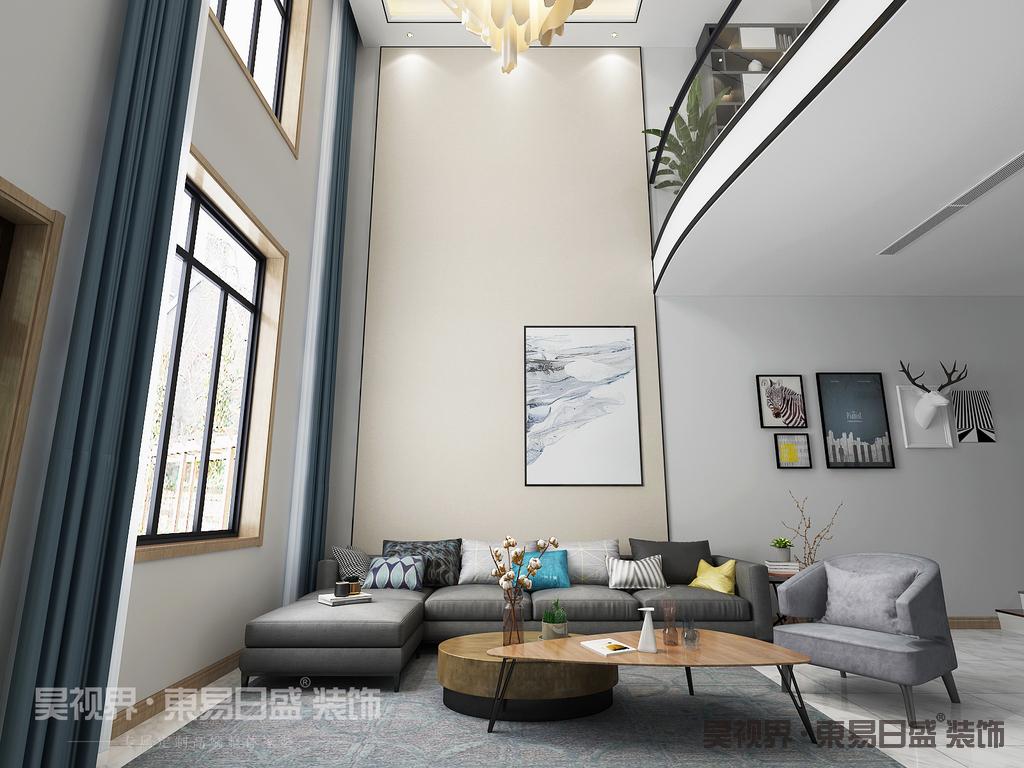 沙发背景墙用的是淡淡的暖灰色刷漆壁布,再搭配大副抽象挂画。挂画意境清逸潇洒,色彩与客厅黑白灰的主色调保持一致,大美无言,妙道自然。