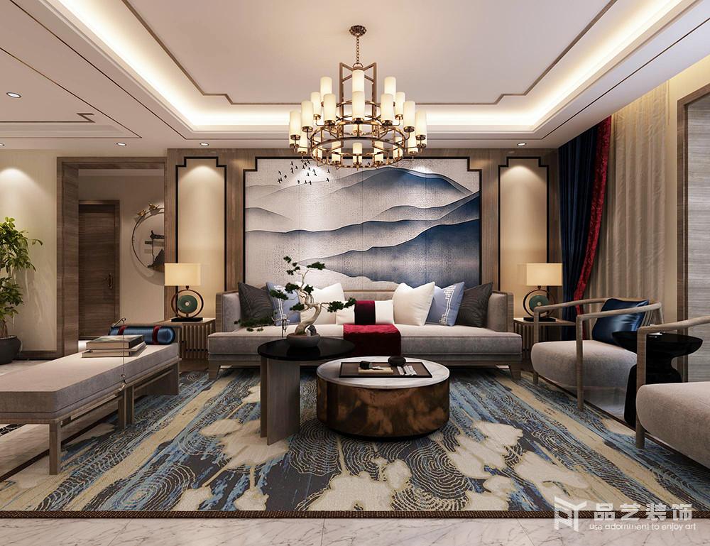 中冶麗苑四居室-客廳沙發背景墻