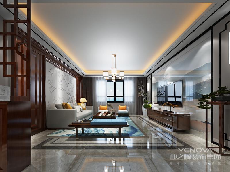 新中式风格的空间装饰多采用简洁硬朗的直线条。