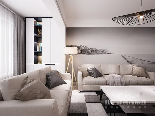 柔软舒适的米白布艺沙发,因为马赛克地毯的铺陈,多了几分时尚层次;沙发墙上大幅海景画作,笔触淡薄如素,呈现出的悠然给空间添了宁静意远的气息;阳台上,设计师巧妙的设计了置物柜,展示收纳功能让空间多了实用性。