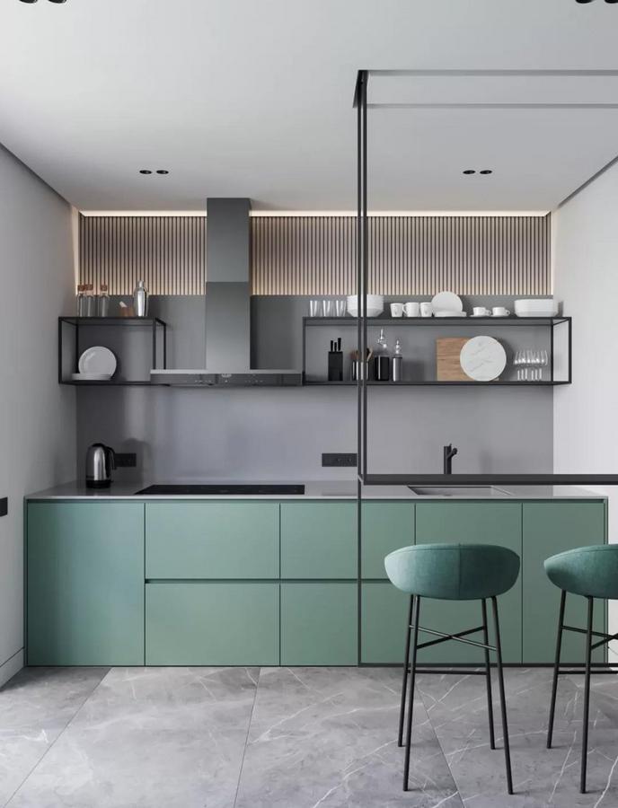 整个厨房的设计也突破了常规路线 力求在符合主人生活与审美需求的基础上 再去强调实际的实用功能 将收纳能力做到极限