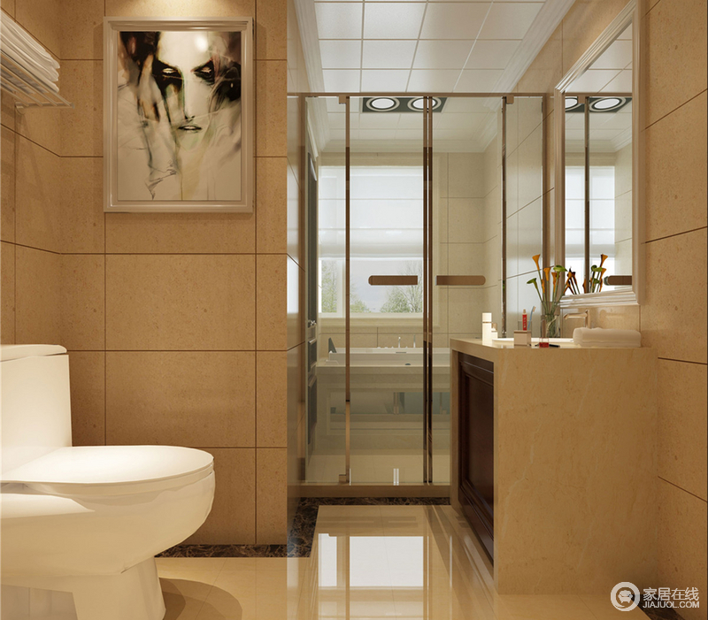 设计师充分利用卫生间的本身户型,通过玻璃金属推拉门,使空间干湿得以分离,保证独立使用和空间干爽整洁;白色的洁具在温暖的色调中,更凸显出干净的视感;装饰的人物画作,增添几分艺术性。