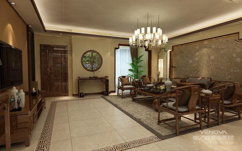 客厅中抛釉地砖与中式家具完美搭配,凸显中式韵律,整体色调典雅温和,满足业主想要营造的舒适温馨家庭氛围