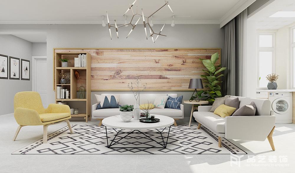 客廳的設計一再作精細化,力求給主人打造一個舒適、簡溫的家,原木拼接版畫在綠植的陪襯中,多了自然的淳樸和清雅;淺灰色沙發搭配圓幾在黑白幾何地毯的反襯中,多了北歐時尚。