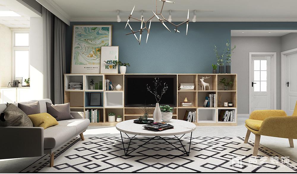 客廳電視背景墻以藍色表達一種憂郁美學,讓人在回到家的一刻,便能沉靜和放松下來;而通過幾何落地柜將收納藝術表現得淋漓盡致,放置在柜上的掛畫和綠植,帶著一種生活的細膩感和情調,更富格調。
