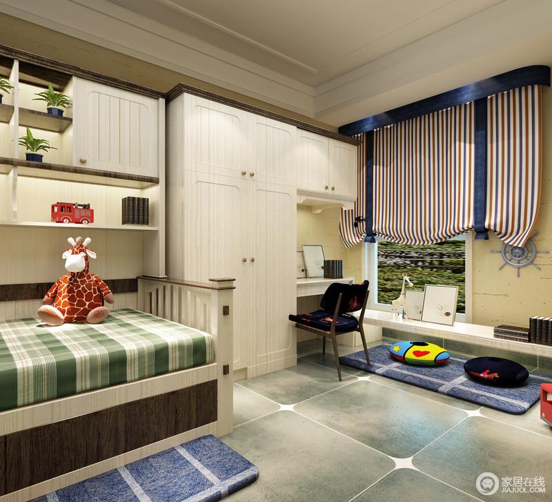 儿童房以白色为基调,绿色仿旧砖让空间古朴之外,多了一种乡村之美;实木床旁的书柜满足收纳的需求,并以书桌、衣柜一体式家具成套组合出实用哲学,蓝色方格地毯、绿色格纹床单和条纹窗帘带着色彩活力,让孩子尽享生机感。