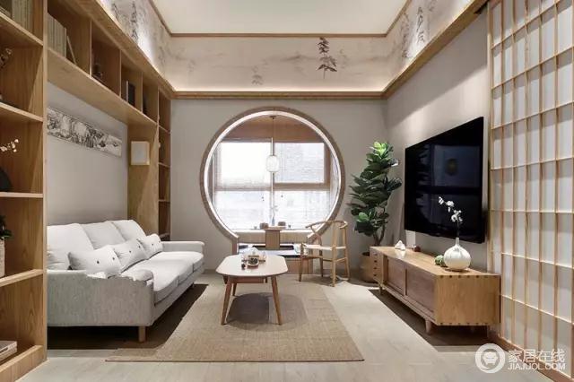 客厅用原木木材做了很多储物格,茶几、电视柜都是原木的。