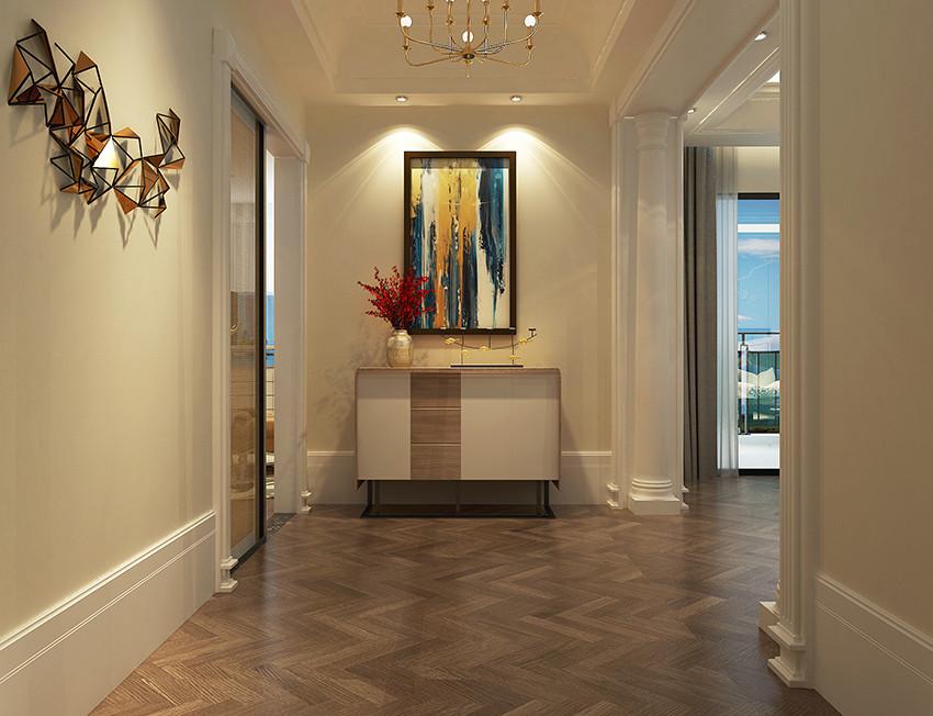 桂林荣和•林溪府复式楼260㎡现代轻奢风格:主卧室走廊装修设计效果图