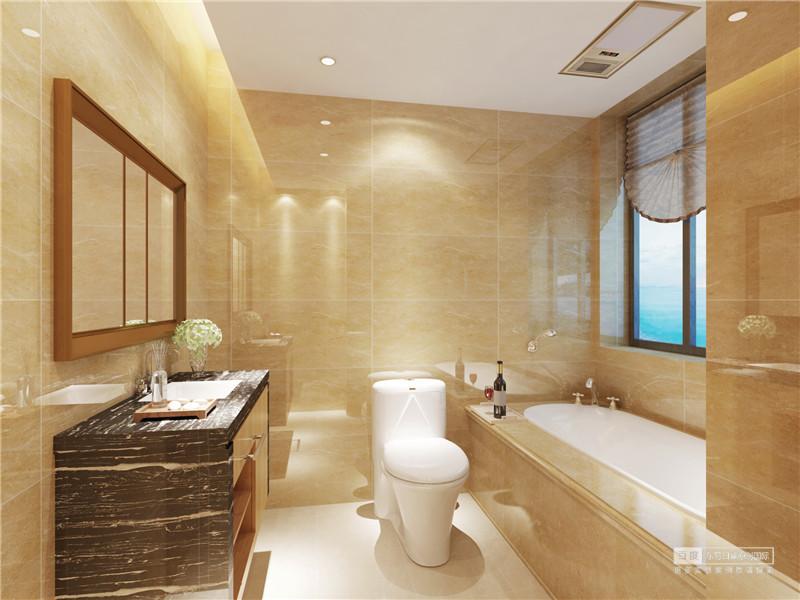 米黄色的卫生间充满了温馨的气息,理石质感光洁盈泽,光影折射在墙面上,轻盈的提亮了空间;盥洗台选用黑金花理石,添加一份沉稳的厚重;浴缸与墙体相连,凝练出空间的简约素雅。