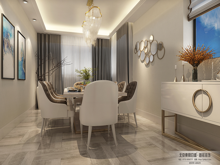 桂林荣和•林溪府复式楼260㎡现代轻奢风格:餐厅装修设计效果图