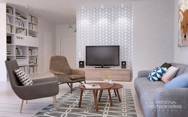 两个浅色系的桌椅,使得整个客厅温馨亮丽
