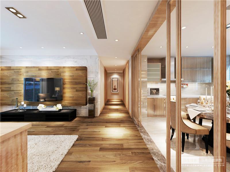 设计师用原木大面积的铺陈,释放出的自然气息萦绕在空间中;走廊上布满点光源,使视觉上仿佛延伸开来,显得深邃幽长;餐厨一体的空间,利用实木玻璃推拉门和地面材质的拼接,通透划分空间区域。