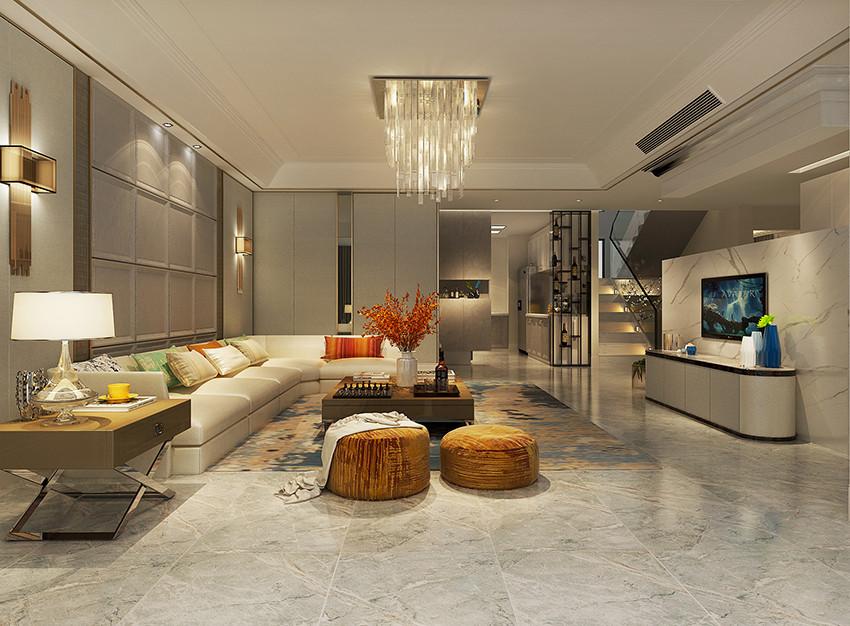 桂林荣和•林溪府复式楼260㎡现代轻奢风格:客厅装修设计效果图
