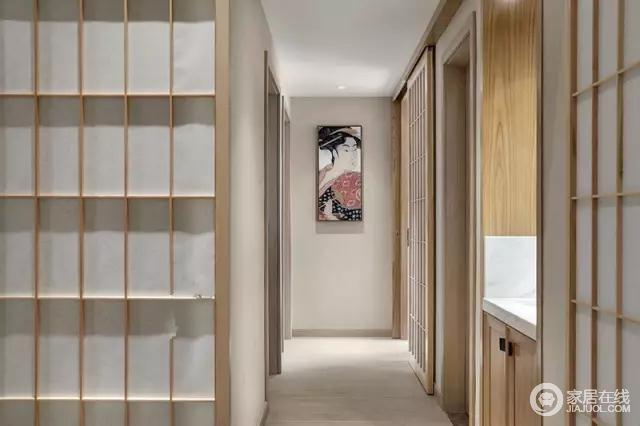 有点日式客栈的室内走廊