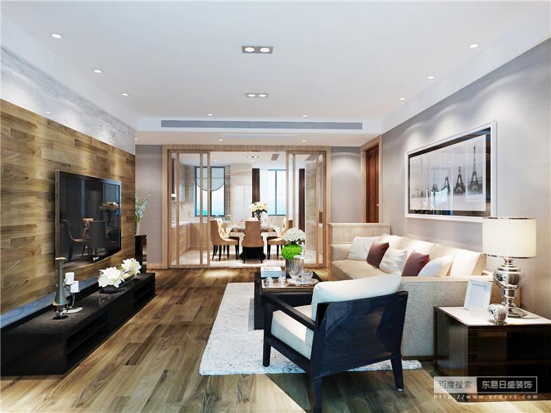 客厅里温润的木质从地面到电视墙,并巧妙的与背景墙打底的石材形成层次;黑色电视柜与茶几、座椅保持一致,平衡中沙发与墙面色调相近,浅淡的色彩素雅明快;空间在黑白灰木色中,被诠释的温雅又沉稳。