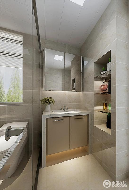 卫生间以灰色装饰铺贴出质朴的乡村风,质朴中多了份浓重的素雅;简洁的设计将墙体隔出置物柜,满足收纳,同时还原一切形式,让设计为成为增加便捷度,而是不给空间增加负担,设计成就生活。