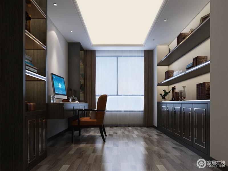 书房充分利用两侧墙面,将书柜和隔板书架靠墙而设,空余出中央活动区域;为了平衡空间视感,墙面保持最初的白墙,以留白的形态避免空间太过暗沉;新中式的橙色座椅,为空间点燃一抹活力。