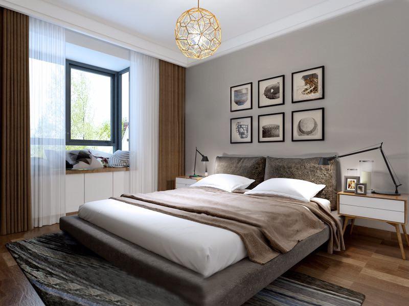 桂林龙光翠竹苑三居室120㎡北欧风格:主卧室装修设计效果图,主卧室在装修上只用简单的色块来区分和装修饰。让你能够体验一把宁静的北欧风情,它虽脱去了传统装修的华丽外表,但是依旧能够为你打照一个温馨的卧室环境。