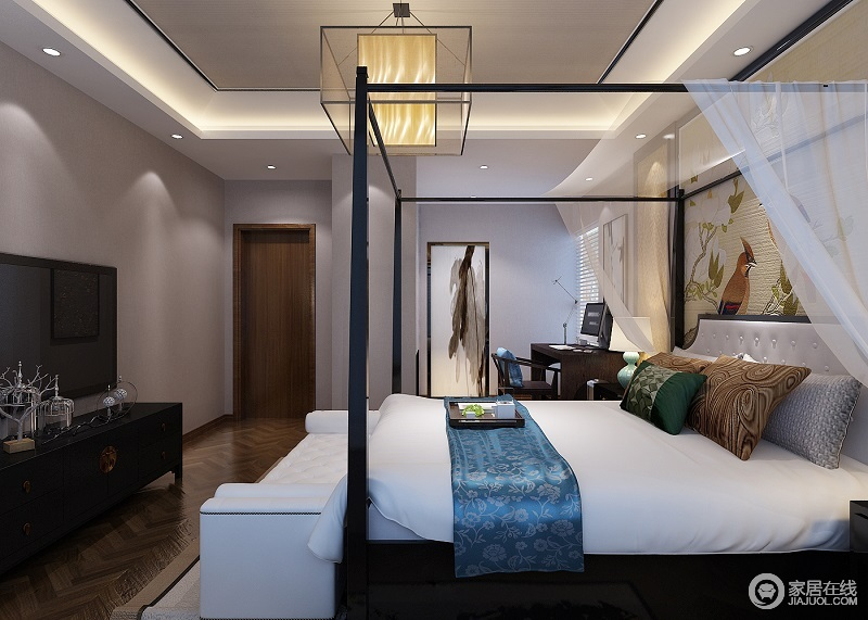 卧室同样是简单舒适的空间基础,木质感的家具搭配中性色的家具,并在细节加入鲜艳活力的元素,带来的是一种独特优雅的气质;床头墙的艳色简洁装饰画,让简约的空间显得更华丽端庄,搭配中式支架床和实木家具让整个空间多了东方端庄。