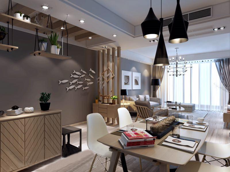 桂林龙光翠竹苑三居室120㎡北欧风格:餐厅装修设计效果图,餐厅采用开放式的格局,空间从视觉上更加宽阔,深色背景墙上加上一群白色的小鱼,顿时充满趣味,整体简单却不失精致;原木柜加上白色北欧餐椅,并与黑色吊灯让空间多了黑白时尚。