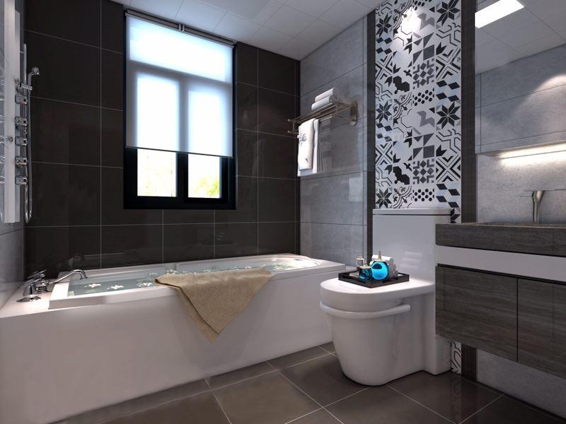 桂林龙光翠竹苑三居室120㎡北欧风格:卫生间装修设计效果图,卫生间用黑色和浅灰色墙砖铺贴地面,并因为白色不规则图案砖装饰墙面,让空间多了时尚简洁;白色浴缸与咖色地砖构成层次,而原木关系管简洁大气,多了自然温实与实用。