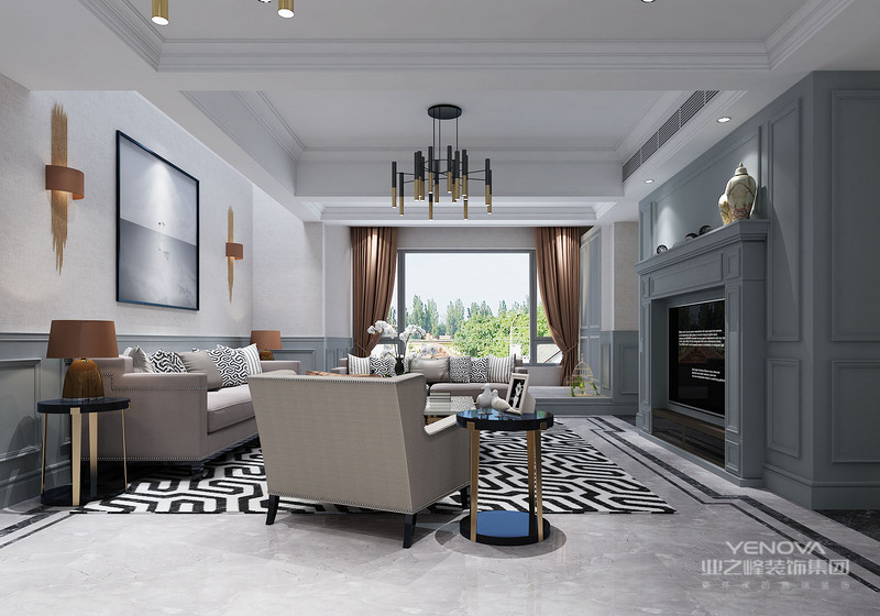 高雅而和谐是新古典风格的代名词。白色、金色、黄色、暗红是欧式风格中常见的主色调,少量白色糅合,使色彩看起来明亮、大方,使整个空间给人以开放、宽容的非凡气度,让人丝毫不显局促。