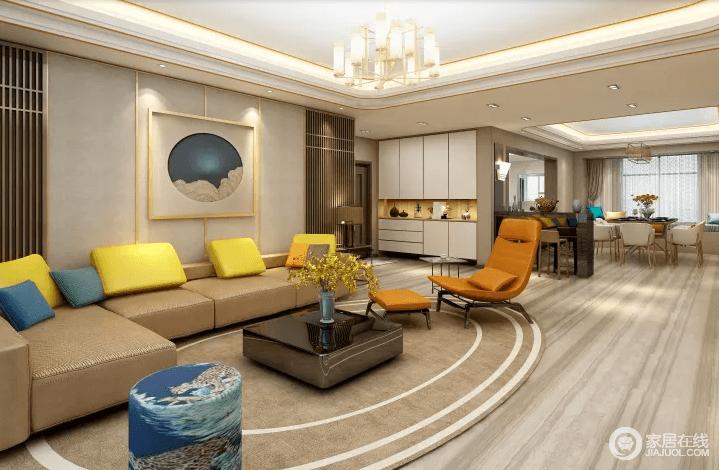 客厅原本条纹地板十分朴质,搭配椭圆形中性的地毯、黑色方几和咖色沙发,多了沉稳与几何上的和谐;橘色扶手椅、黄色靠垫衬托着背景墙上的夜空挂画,为你演绎色彩活力;门厅的白色收纳柜实用之外,巧妙强调了空间性,让生活既开放又舒适。