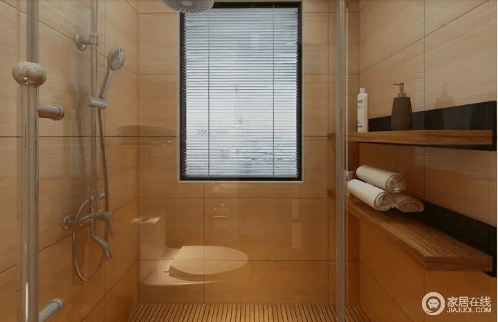 淋浴间以玻璃门与其他空间分隔,解决干湿问题,墙砖米色调形成了暖调;木质悬挂架简单地解决了收纳的问题,让淋浴体验更为贴心。
