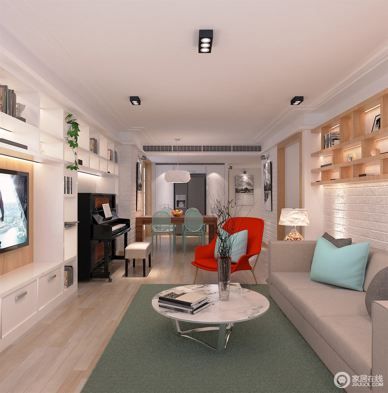 客厅的主墙面用文化砖去装饰,实木悬挂式收纳柜带着自然朴实,与白色顶柜打造得电视背景墙张扬了收纳艺术,同时令空间多了几何立体感;灰色沙发在绿色地毯的映衬中多了生机,而红色单椅和大理石圆几以材质和色彩之美激活了空间,更显格调。