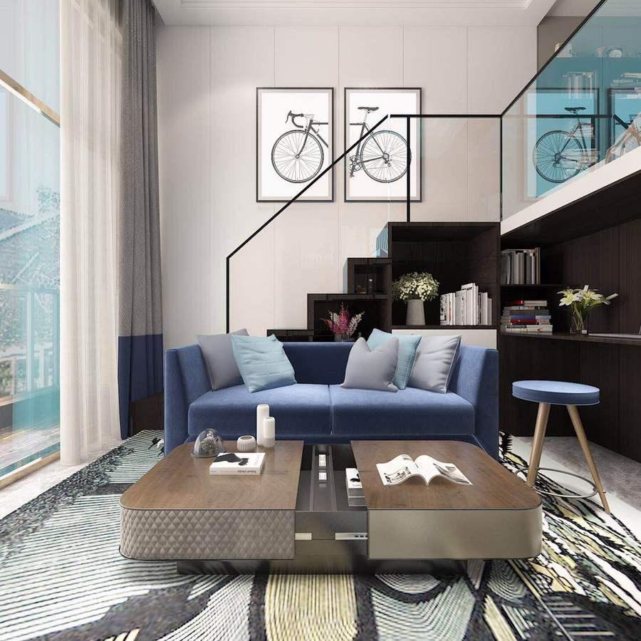 现代风格简约而不简单,家具色彩明艳、时尚,空旷而不繁重,给人耳目一新的感觉。