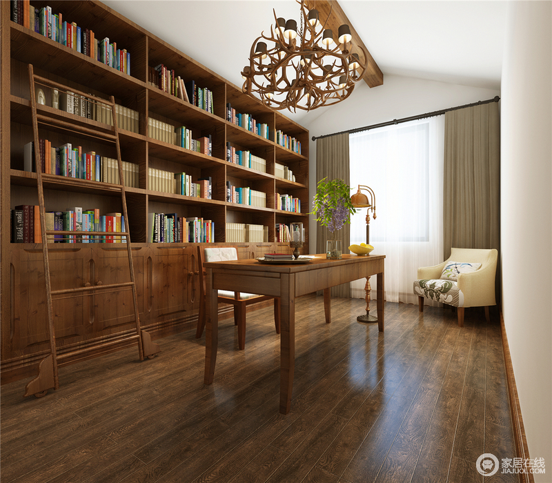 书房采用全木质的书柜与整体的木质地板来铺地,色调一致,让空间保持了沉稳古朴;锥子形的吊顶因为木质吊灯更富田园朴素,书柜搭配书桌,让主人生活多了文艺感,现代美式扶手椅带来设计的温和,给予空间的艺术感。