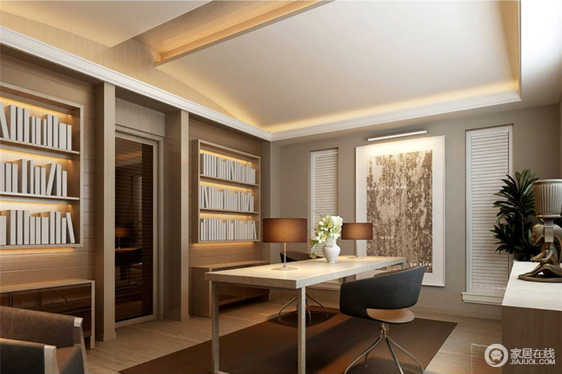 书房的墙面以灰色漆粉刷,色调上的柔和与设计上的简约形成优雅,再加上一副黑白挂画无形中加重了空间的文艺气息;实木悬挂式书柜和边几对称而实用,与书桌、黑色转椅、咖色地毯呈一派现代稳重。