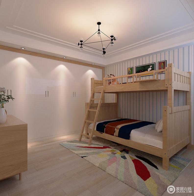 儿童房意在为孩子营造一种简单、温馨、欢愉的生活氛围,而设计师在遵循既有结构的前提前,将白色衣柜以木框结构加以强调,与双层实木床呼应自然温实;蓝白条纹壁纸将清新融入空间,与玻璃球泡灯 呈简洁,而彩色地毯增加了跳跃感,让生活充满活力。