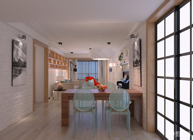 客餐厅一体式设计尤为大气,白色砖墙带着些许工业气息,与黑白摄影作品凸显简约之美,同时,与对墙的挂画呈对称美学;实木餐桌因为绿色树脂餐椅多了时尚感,与棱角立体的白色吊灯张扬生活美学和家居艺术。