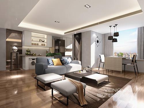 白色的吊顶与木色地面形成对比,加之空间中灰色优雅地沙发与白色方形坐墩,令空间汇聚着简约的魅力。