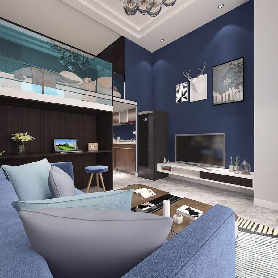客厅背景墙以蓝色为主,不加过多装饰的原木家具带来清新自然的感觉。