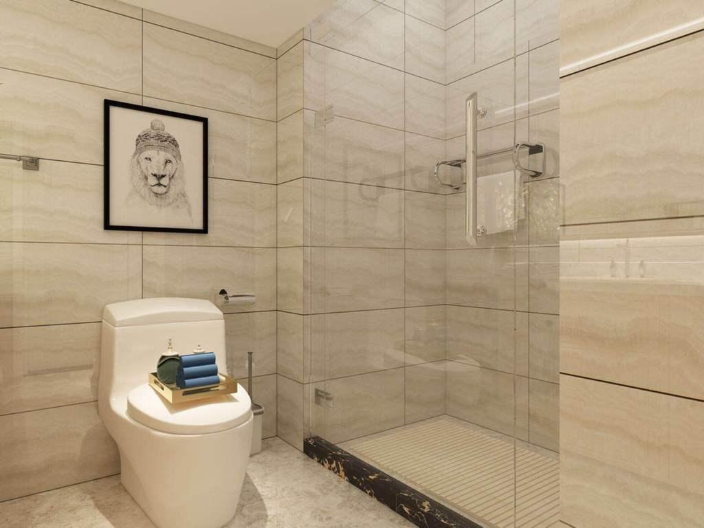 卫生间功能区域划分明确,干湿分离,置物设计在了上方,充分利用了空间。