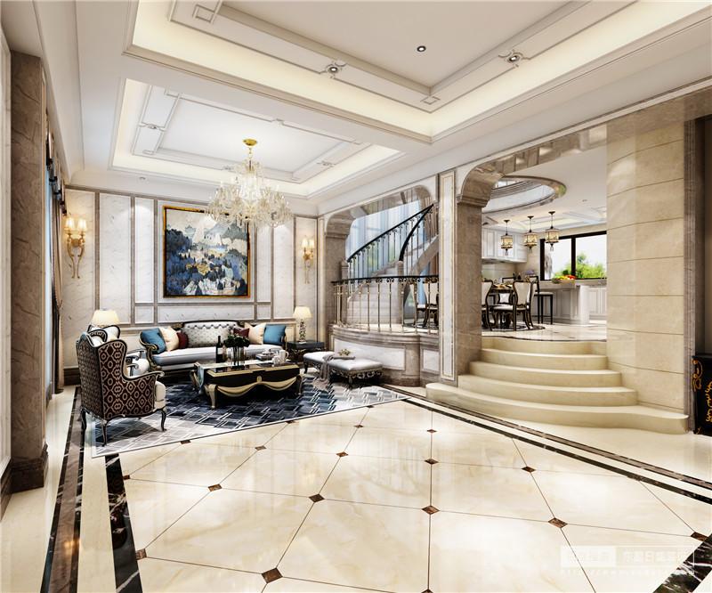客厅方正规整,米色地砖上的菱形拼接简单而动感十足,高低的地面区分了客厅与餐厅,同时,具有结构之美;灰白色壁纸让墙面浅淡有调,藏蓝色抽象挂画衬托,更显优雅;欧式曲线沙发因纹样和造型十分贵气,藏蓝色菱形地毯更填奢华。