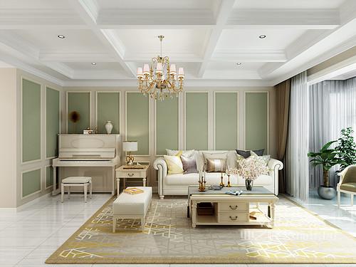 客厅简单的几何造型让吊顶更有曲线美感,高雅大方;绿色石膏沙发墙十分灵动,没有繁复,清新雅致,搭配浅色简欧家具,让空间具有层次感和雅致。
