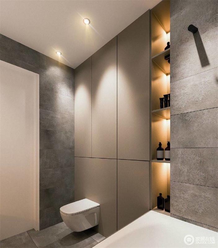 卫浴间并不是就设计而设计,而是通过咖色收纳柜来满足功能性需求,以咖色的稳重感让空间更显沉浸,凝练的设计从不张扬;灰色水泥墙与置物格散出来的灯光,抚触美妙,生活得惬意。