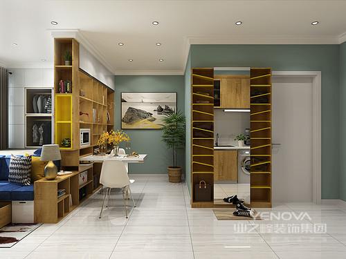 为了使用餐区的空间更为宽阔,设计可抽拉式多功能餐桌,打造空间更多可能性。