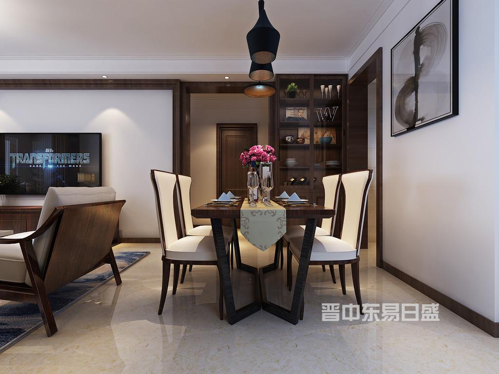 餐厅是家居生活的心脏,不仅要美观,更重要的是实用性,整体性。所以在餐桌的选择上,颜色和沙发的木色选为一个颜色。餐厅的灯光很重要既不能太强又不能太弱,灯光则以温馨和暖的黄色为基调。
