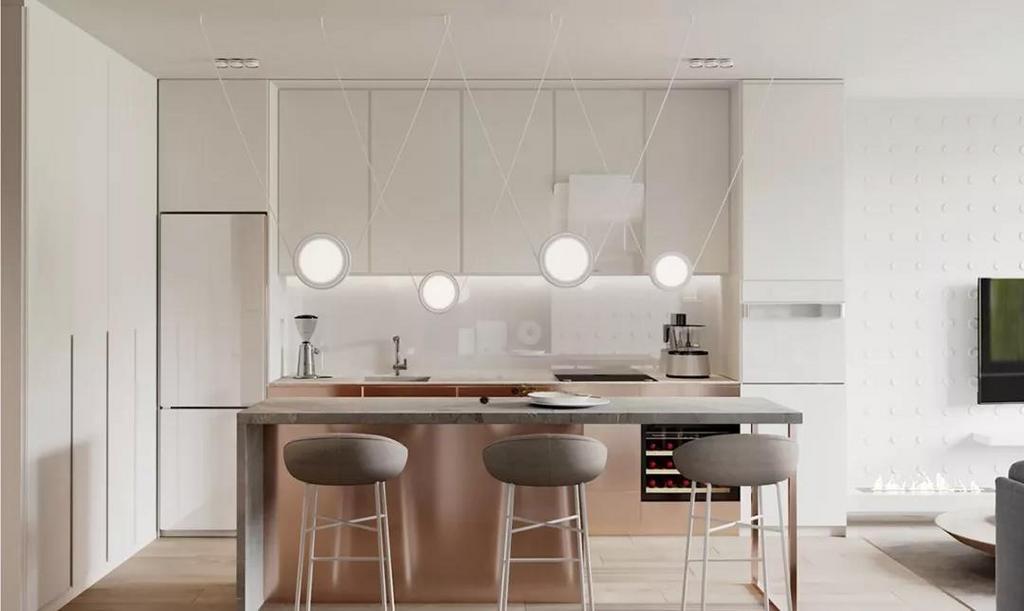 开放式厨房+岛台设计, 也将女主人的生活品质完美展现。 别致的灯具造型, 更丰富了空间的视觉变化, 一切都自然地透露出轻松闲适的气息。